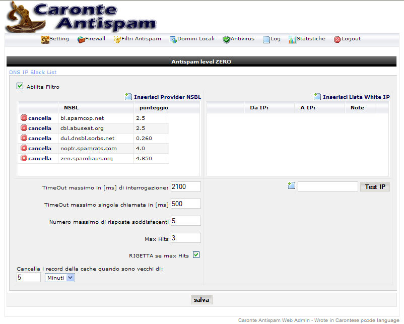 Setting - caronte Antispam server